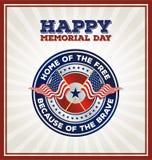 Happy Memorial Day Badge Greeting Card Stock Photos