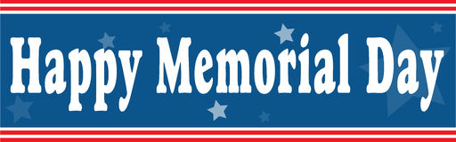Happy Memorial Day banner in blue and red Royalty Free Stock Image