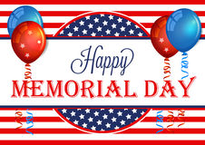 Happy Memorial Day Banner. Memorial Day Background Template with American Flag. Stock Images