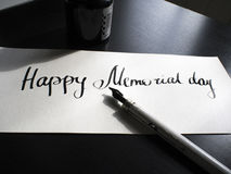 Happy Memorial day calligraphy and lettering post card. Perspective view. The first hard. royalty free stock image