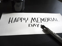 Happy Memorial day calligraphy and lettering post card. Perspective view. Hard letters. Memorial day calligraphy and lettering typographical design stock image