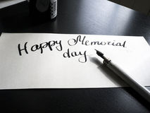 Happy Memorial day calligraphy and lettering post card. Perspective view. A semicircular inscription stock image
