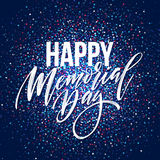 Happy Memorial Day card. National american holiday. Festive poster or banner with hand lettering. Vector illustration. EPS10 Royalty Free Stock Images