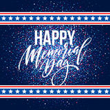 Happy Memorial Day card. National american holiday. Festive poster or banner with hand lettering. Vector illustration. EPS10 Stock Photography