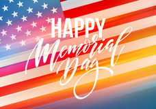 Happy Memorial Day card. National american holiday. Festive poster or banner with hand lettering. Vector illustration. EPS10 Stock Images