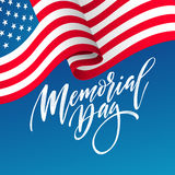 Happy Memorial Day card. National american holiday. Festive poster or banner with hand lettering. Vector illustration. EPS10 Royalty Free Stock Image