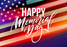 Happy Memorial Day card. National american holiday. Festive poster or banner with hand lettering. Vector illustration. EPS10 Royalty Free Stock Photos