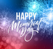 Happy Memorial Day card. National american holiday. Festive poster or banner with hand lettering. Vector illustration. EPS10 Stock Photos
