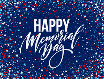 Happy Memorial Day card. National american holiday. Festive poster or banner with hand lettering. Vector illustration. EPS10 Stock Photo