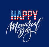 Happy Memorial Day card. National american holiday. Festive poster or banner with hand lettering. Vector illustration. EPS10 Royalty Free Stock Photo