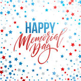 Happy Memorial Day card. National american holiday. Festive poster or banner with hand lettering. Vector illustration. EPS10 Royalty Free Stock Photography