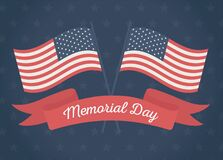 Happy Memorial Day, Crossed Flags Ribbon Stars Blue Background American Celebration Royalty Free Stock Photography