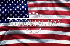 Happy Memorial Day greeting card, National american holiday. Memorial day background remember and honor. Word Memorial day on american flag background stock photography
