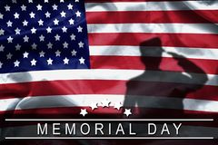 Happy Memorial Day greeting card, National american holiday. Memorial day background remember and honor , shadow of soldier. On american flag with word Memorial royalty free stock photo