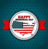 Happy Memorial Day greeting card. National american holiday vector illustration with USA patriotic elements. Festive poster or banner Royalty Free Stock Photography