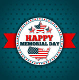 Happy Memorial Day greeting card. National american holiday vector illustration with USA patriotic elements. Festive poster or banner Royalty Free Stock Photo