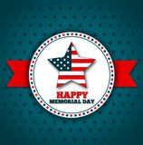 Happy Memorial Day greeting card. National american holiday vector illustration with USA patriotic elements. Festive poster or banner Stock Photos