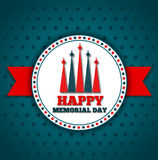Happy Memorial Day greeting card. National american holiday vector illustration with USA patriotic elements. Festive poster or banner Stock Photo