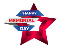 Happy Memorial Day greeting card with national flag colors and red star isolated on white background. Remember and honor. Can be used for design your website Stock Photos