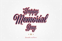 Happy Memorial Day. Greeting card with original font and stars. Template for American holidays with texture. Flat stock illustration