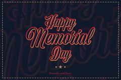 Happy Memorial Day. Greeting card with original font and stars. Template for American holidays with texture. Flat vector illustration