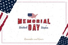 Happy Memorial Day. Greeting card with original font and USA map and flag. Template for American holidays. Flat illustration EPS10.  vector illustration