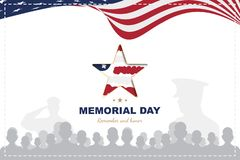 Happy Memorial Day. Greeting card template with Usa flag with star and veteran silhouettes on white background. National stock illustration