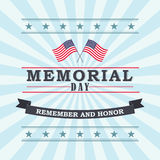 Happy Memorial Day greeting card. Vector illustration. Happy Memorial Day template for greeting card. Memorial day, remember and honor texts with two US vector illustration