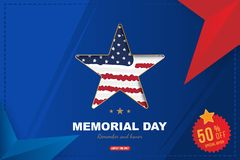 Free Happy Memorial Day. Greeting Card With Sale 50 Offer And Star Close Up And USA Flag With Shadow. National American Stock Photography - 147878812