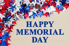 Free Happy Memorial Day Greeting With Stars Stock Photo - 115879330