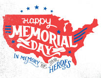 Happy Memorial Day hand-lettering greeting card. Happy Memorial Day. In memory of our heroes. Hand-lettering greeting card with textured sketch of silhouette US Royalty Free Stock Photos