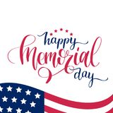 Happy Memorial Day handwritten phrase in vector. National american holiday illustration with USA flag. Festive poster. Happy Memorial Day handwritten phrase in Stock Photo