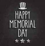 Happy Memorial Day poster on black chalkboard. Handwritten text with hat and stars Stock Images