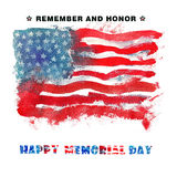 Happy Memorial Day. Remember And Honor. Watercolor Hand Drawn illustration. Background Of The American Flag Royalty Free Stock Image