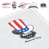 Happy Memorial day set. The celebration of patriotic celebration of America. Detailed elements. Typographic labels Stock Photos