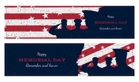 Happy memorial day. Set vintage retro greeting card with flag and soldier with old-style texture. National American holiday event. Flat Vector illustration Royalty Free Stock Images