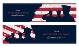 Happy memorial day. Set vintage retro greeting card with flag and soldier with old-style texture. National American holiday event. Flat Vector illustration Royalty Free Stock Photography
