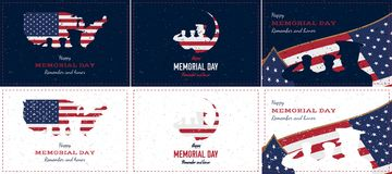 Happy memorial day. Set vintage retro greeting card with flag and soldier with old-style texture. National American. Holiday event. Flat Vector illustration Stock Images