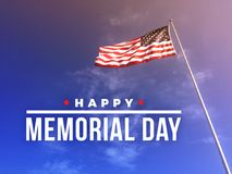 Happy Memorial Day Text with American Flag. Happy Memorial Day Text Over Blue Sky Background with American Flag Royalty Free Stock Photo