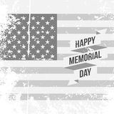 Happy Memorial Day Text and Ribbon on USA Flag. Happy Memorial Day Text and Ribbon on USA grunge Flag Background Stock Photos