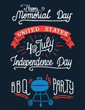 Happy memorial day and 4-th of July hand-lettering. Happy memorial day and 4-th of July. Barbecue party vintage labels. Set of holiday retro stickers. Hand royalty free illustration