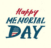 Happy memorial day. Us flag symbol lettering text for greeting card Stock Image