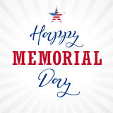 Happy Memorial Day USA lettering star light stripes Royalty Free Stock Images