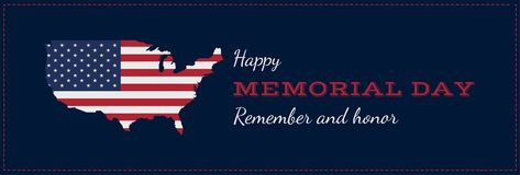 Happy memorial day with USA map. Greeting card with flag and map. National American holiday event. Flat Vector illustration EPS10 vector illustration