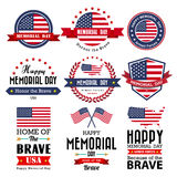 Happy Memorial Day vector greeting card ,badge and labels Stock Photos