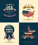 Happy Memorial Day Vector Set Stock Photo