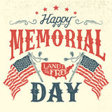 Happy Memorial Day vintage greeting card. Happy Memorial Day greeting card. Hand-lettering party invitation. Sketch of american patriotic flags and country Stock Photos