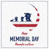 Happy memorial day. Vintage retro greeting card with flag and soldier with old-style texture. National American holiday event. Fla. T Vector illustration EPS10 Royalty Free Stock Photography