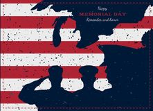 Happy memorial day. Vintage retro greeting card with flag and soldier with old-style texture. National American holiday event. Fla. T Vector illustration EPS10 Royalty Free Stock Photo