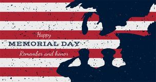 Happy memorial day. Vintage retro greeting card with flag and soldier with old-style texture. National American holiday event. Fla. T Vector illustration EPS10 Stock Photography